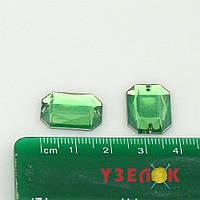 Камни пришивные Восьмиугольник 13х18 (цвет: зеленый), цена за 1шт