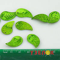 Паетки листик зеленый с блестками 2,5см