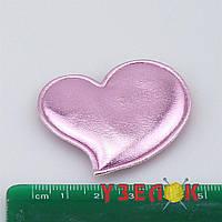 """Аппликация экокожа в виде """"Сердца"""" 5см. цвет- розовый"""