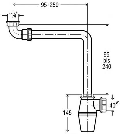 Сифон для умывальника 1 1/4, изогнутый, пластик (128913), фото 2
