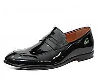 Полноразмерные мужские лаковые туфли лоферы из Pu-кожи, черные. Размеры 36, 37, 38, 39. Desay 12297.