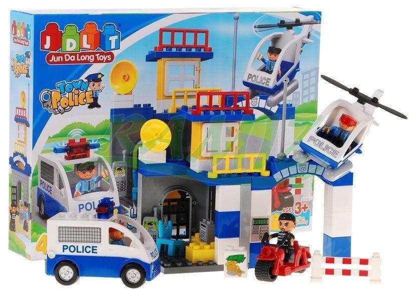 """Конструктор детский JDLT 5133 аналог Lego Duplo """"Полицейский участок"""" со звуком и светом 45 деталей"""