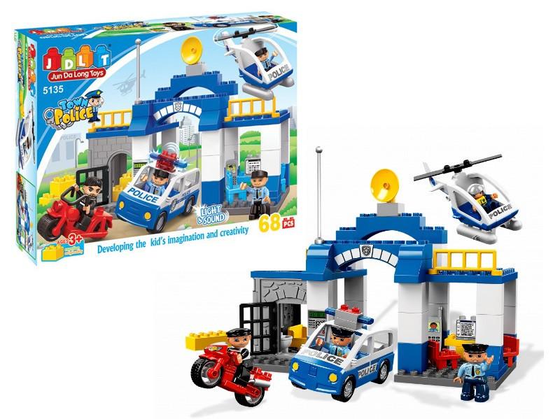 """Конструктор детский JDLT 5135 аналог Lego Duplo """"Полицейский участок"""" со звуком и светом 68 деталей"""