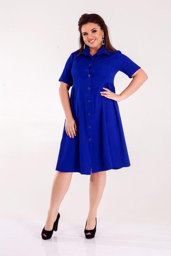 Темно-синее платье из летней костюмки 8314