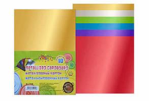 Картон цветной Металлик Kidis А4 10л, 6цв, 250гр