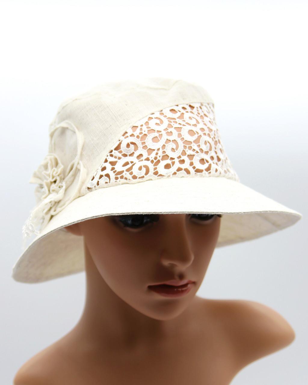 fbdc9ab03 Женская льняная шляпка с полями - летняя шляпа женская украшением. - VECONS  - женские и