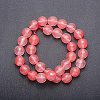 Бусины натуральный камень Халцедон розовый на нитке граненный шарик d-12(+-) мм L-37см