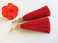 Серьги кисти - шёлк сделано в Украине ( красный 2 )