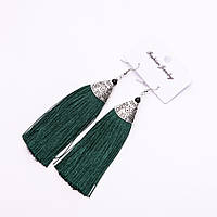 """Сережки Кисті """"Альмина"""" темно зелені L-10см"""