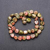 Бусины натуральный камень Яшма Гелиотроп галтовка d-8(+-) мм L-38см