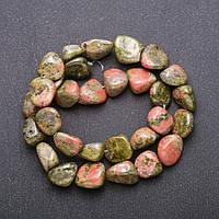 Бусины натуральный камень Яшма Гелиотроп галтовка d-12(+-) мм L-38см