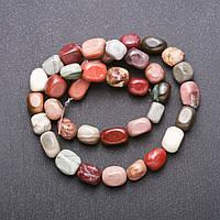Бусины натуральный камень Яшма Мукаит галтовка d-9(+-) мм L-38см