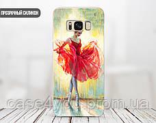 Силиконовый чехол для Huawei Y7 Prime (Балерина в красном), фото 3