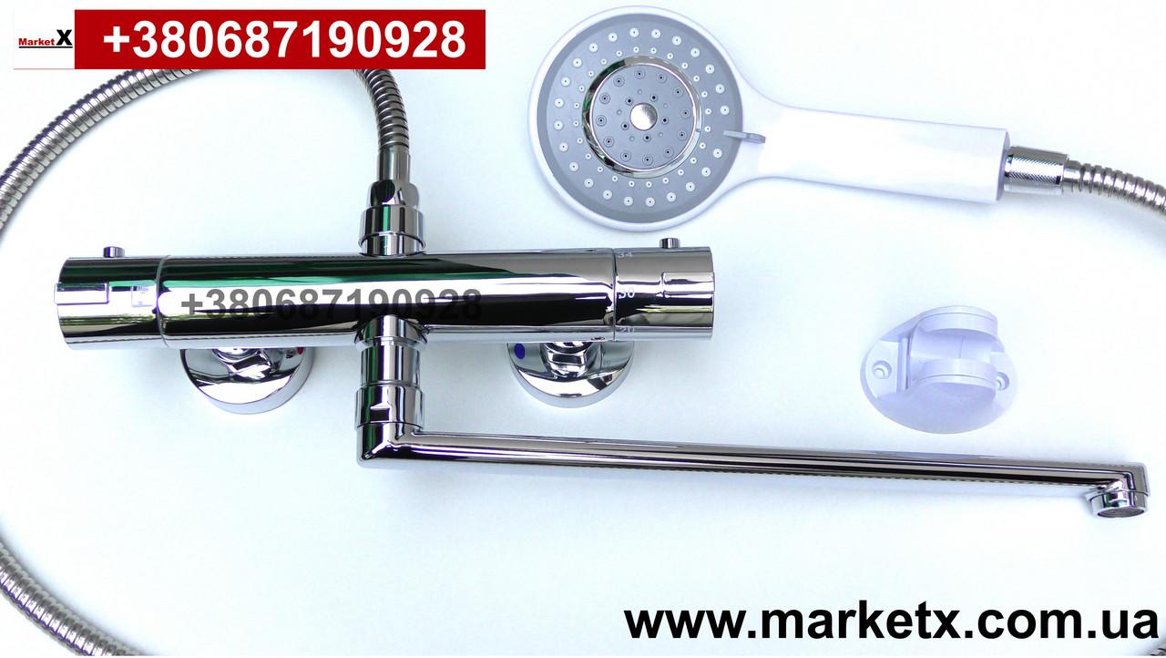 Латунный смеситель термостат для ванны и душа с длинным изливом