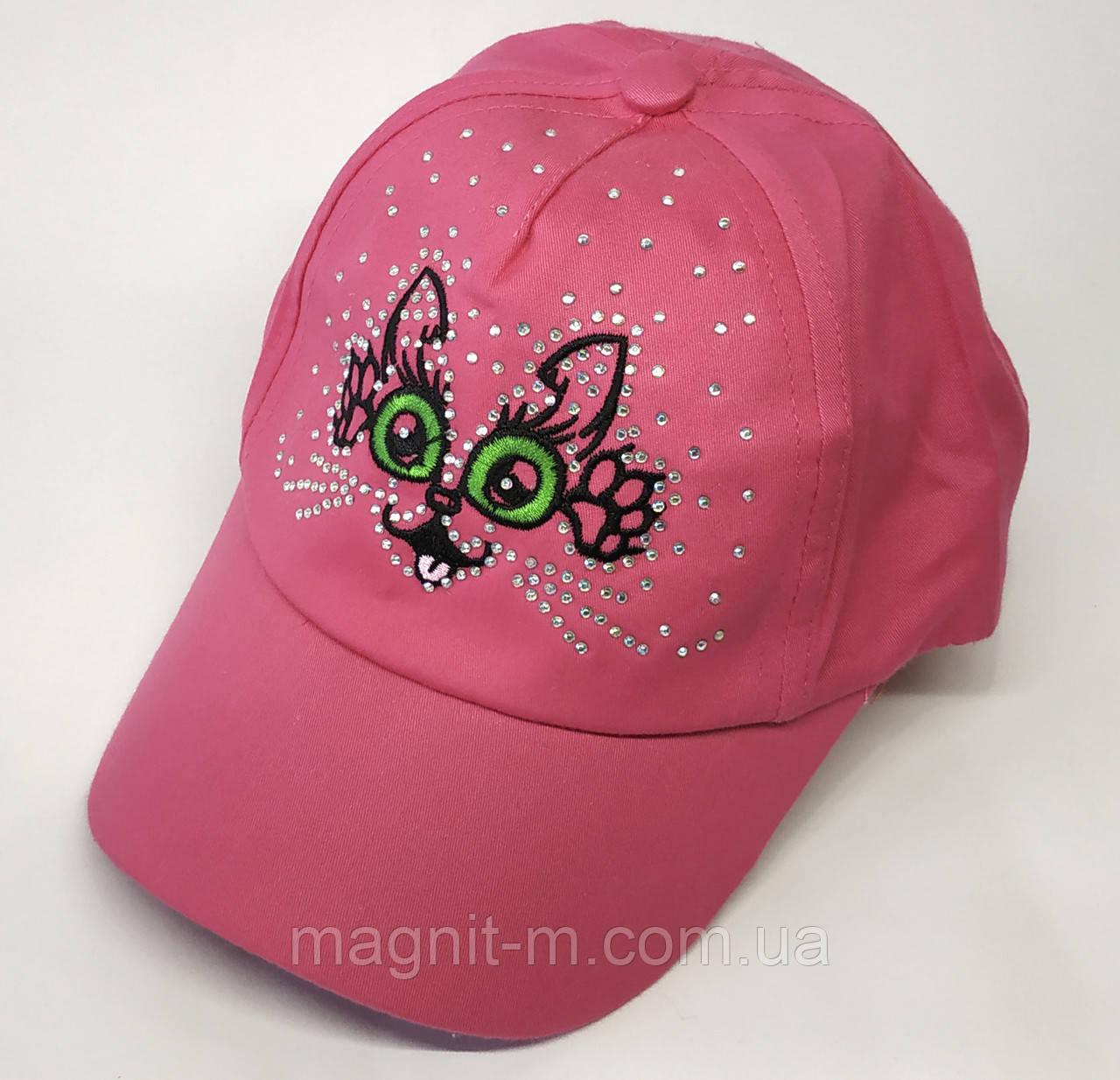 "Кепка для девочки ""Кошечка со стразами"". 3-4 года. Розового цвета."