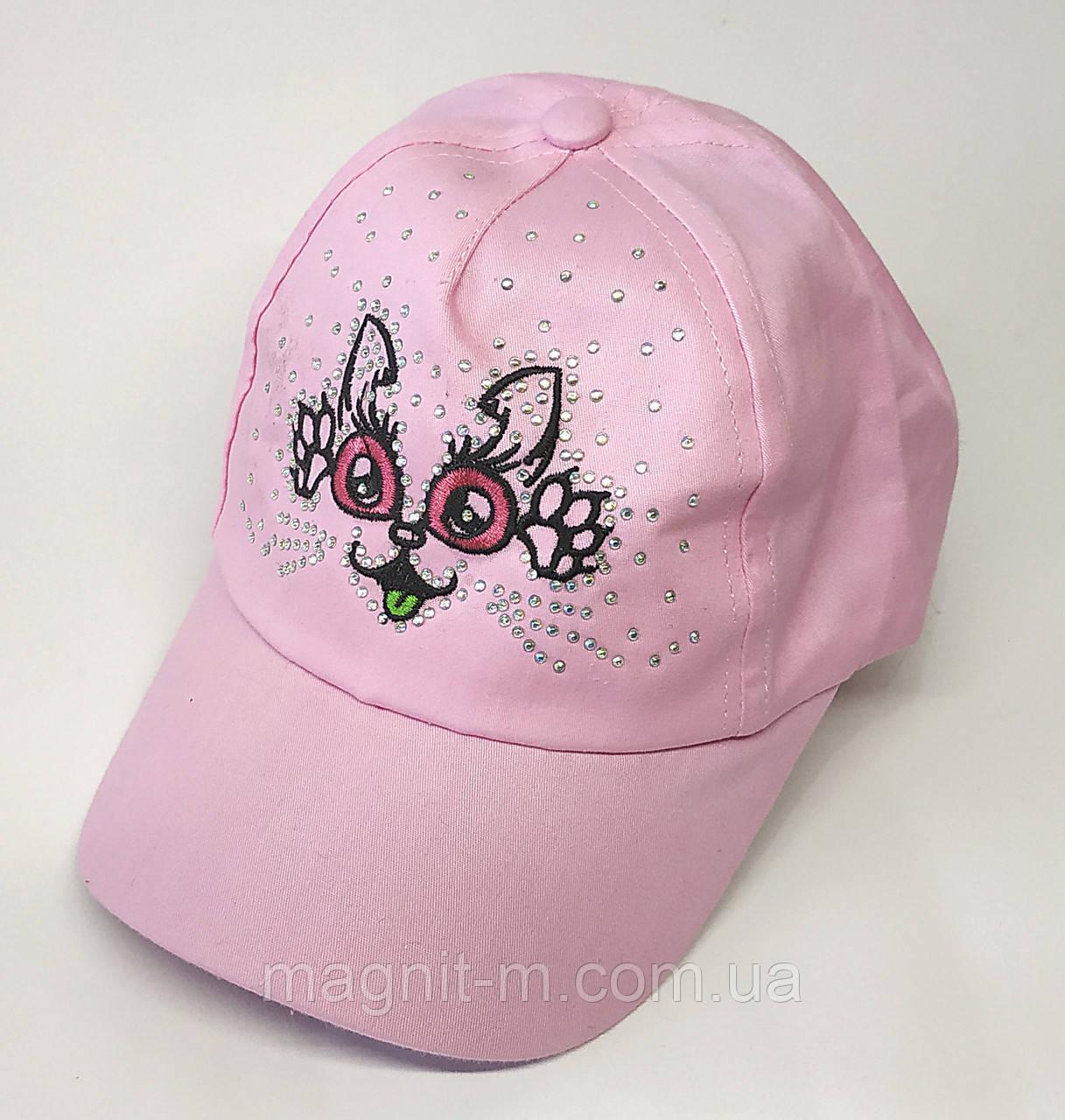 "Кепка для девочки ""Кошечка со стразами"". 3-4 года. Нежно-розового цвета."
