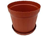 """Горшок для цветов """"Кадушка"""" с подставкой 2,5л коричневый (ЧП КВВ), фото 1"""