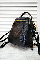 Рюкзак-трансформер кожзам 54-30 черный 19х17х9 см