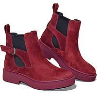 Ботинки женские демисезонные из натуральной замши красные
