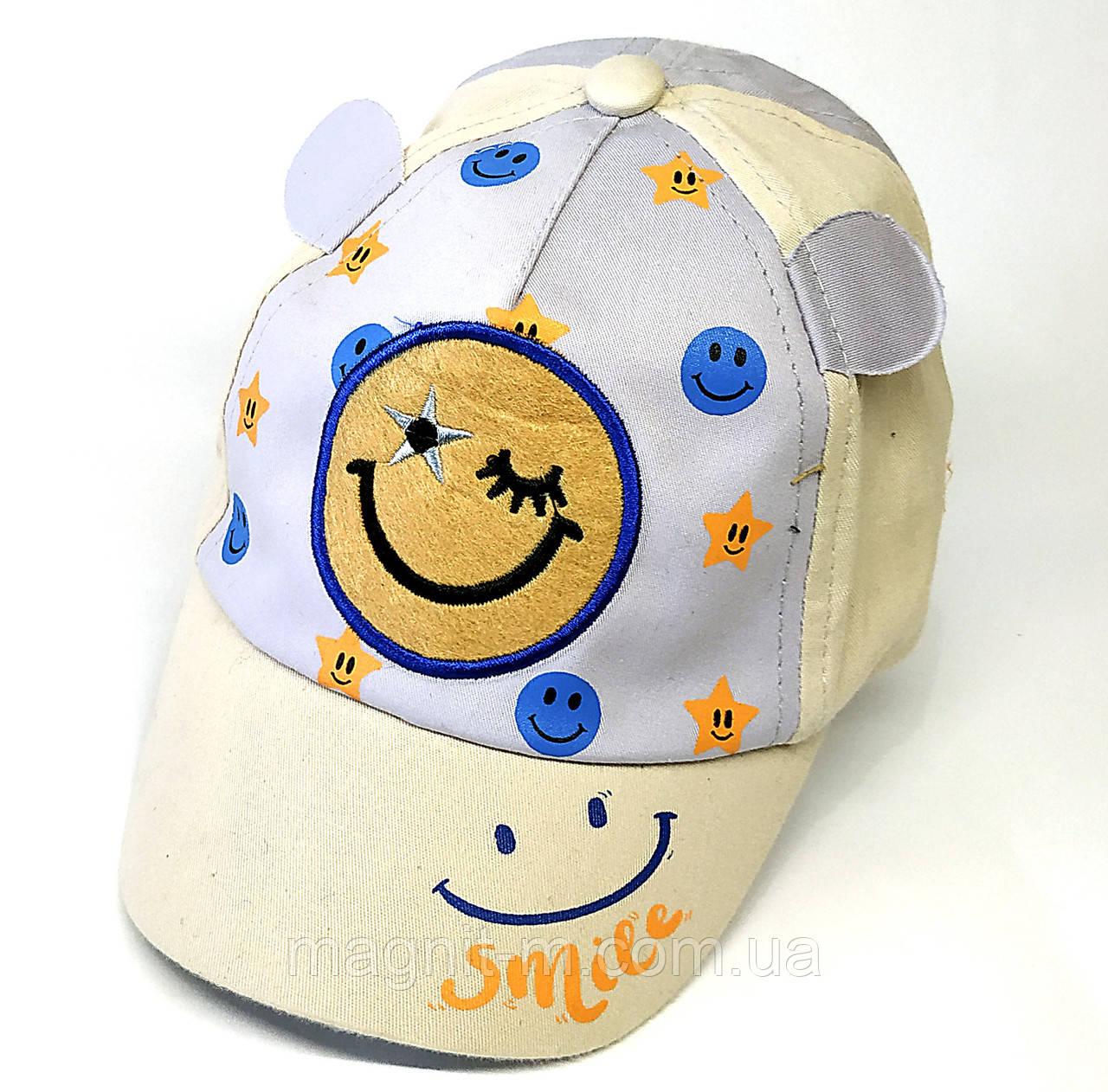 Летняя кепка для мальчиков 1-2 года. Смайл.