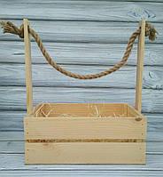 Деревянная корзина, кашпо натурального цвета для цветов и подарочных композиций, 26*15*30 см