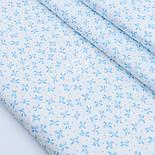"""Лоскут сатина """"Густые бантики и точки"""" голубые на белом, № 1771с, фото 2"""