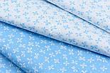 """Лоскут сатина """"Густые бантики и точки"""" голубые на белом, № 1771с, фото 4"""