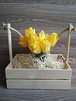 Деревянная корзина, кашпо натурального цвета для цветов и подарочных композиций, 29.5*21.5*30 см