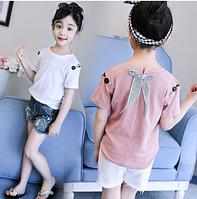 Стильна футболка з бантиком / хлопковая одежда с бантом Детские подростковые футболки с короткими рукавами