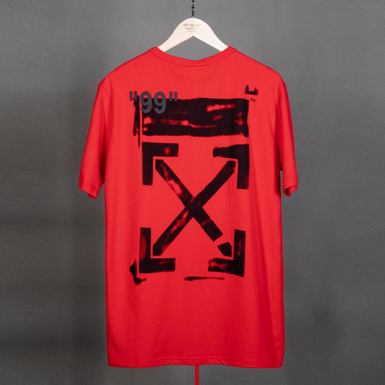 Красная футболка Off white impressionism (с чёрными стрелками офф вайт мужская женская)