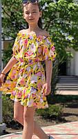 Платье-сарафан для девочки с цветами,ткань супер софт, 3 цвета,рост:134,140,146,152, код 0740, фото 2