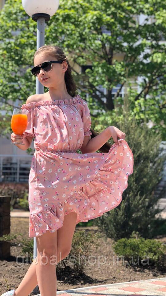 Платье-сарафан для девочки с цветами,ткань супер софт, 3 цвета,рост:134,140,146,152, код 0740