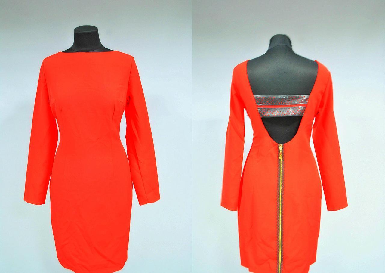 """Стильное женское платье с отделкой из перфорированный экокожи """"хлопок+стрейч костюмная"""" 42 размер норма"""