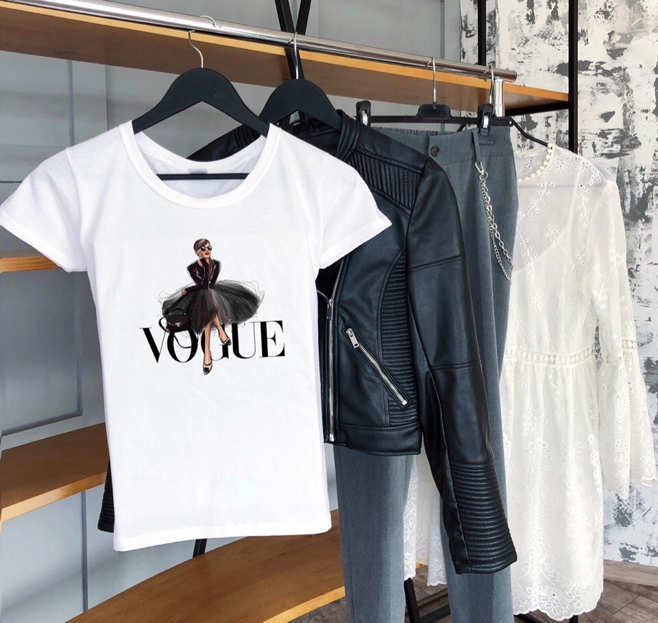 Футболка женская белая принт Vogue. Женская футболка с принтом Вог. ТОП КАЧЕСТВО!!!