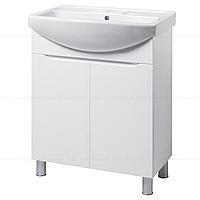 Тумба под раковину для ванной комнаты на ножках ВИСЛА Т1 (белая) с умывальником ИЗЕО 70