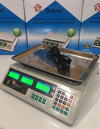Ваги електронні торгівельні до 50 кг Domotec MS-228 для магазинів і торгових точок, фото 2
