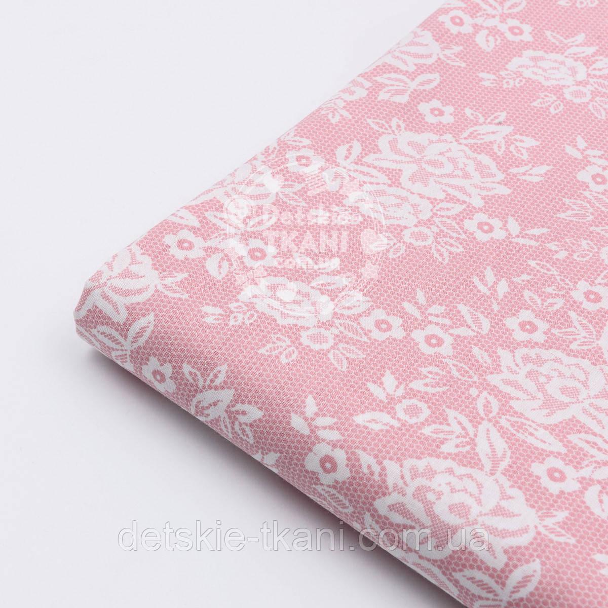 "Лоскут поплина ""Розочки на сетке"" розового цвета №1605"