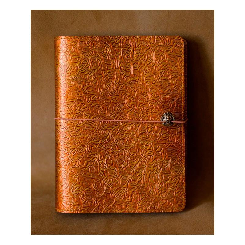 """Щоденник (портфоліо) А5 формату в шкіряній обкладинці на гумці """"Флора"""""""