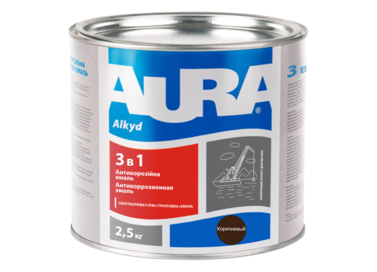 Эмаль антикорозийная Aura 3 в 1 Коричневый 2,5кг