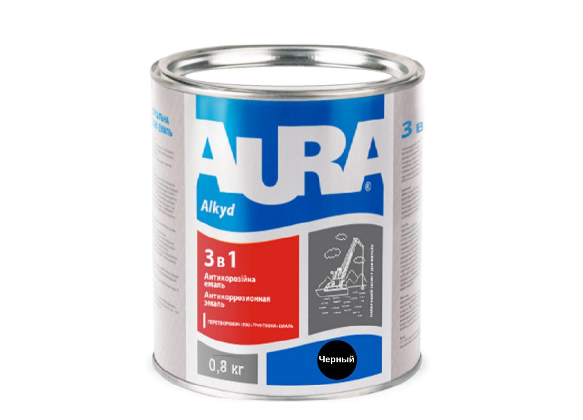 Эмаль антикорозийная Aura 3 в 1 Черный 0,8кг