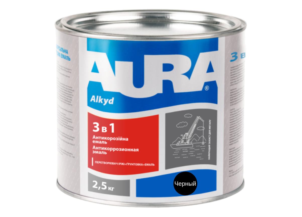 Эмаль антикорозийная Aura 3 в 1 Черный 2,5кг