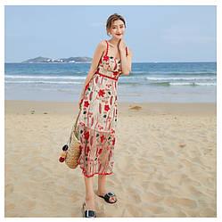Легкий летний сарафан, платье на бретельках. Размер S