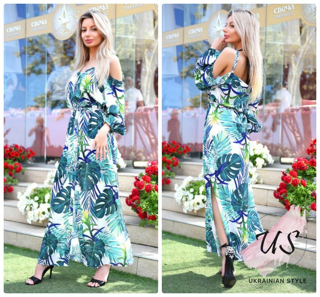 a91721129085d7d Летнее длинное платье с тропическим принтом. Цвета!: продажа, цена в ...