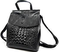 Женский Черный классический кожаный рюкзак-сумка крокодил, оригинальная модель новинка