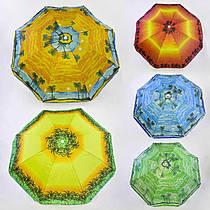 Зонт пляжный С 36388 (30) 5 цветов, С НАПЫЛЕНИЕМ, d=150см, длина 180см