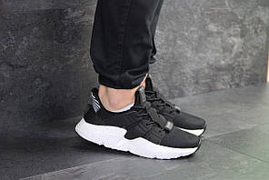 Кроссовки адидас мужские черно-белые текстильные демисезонные (реплика) Adidas Black White