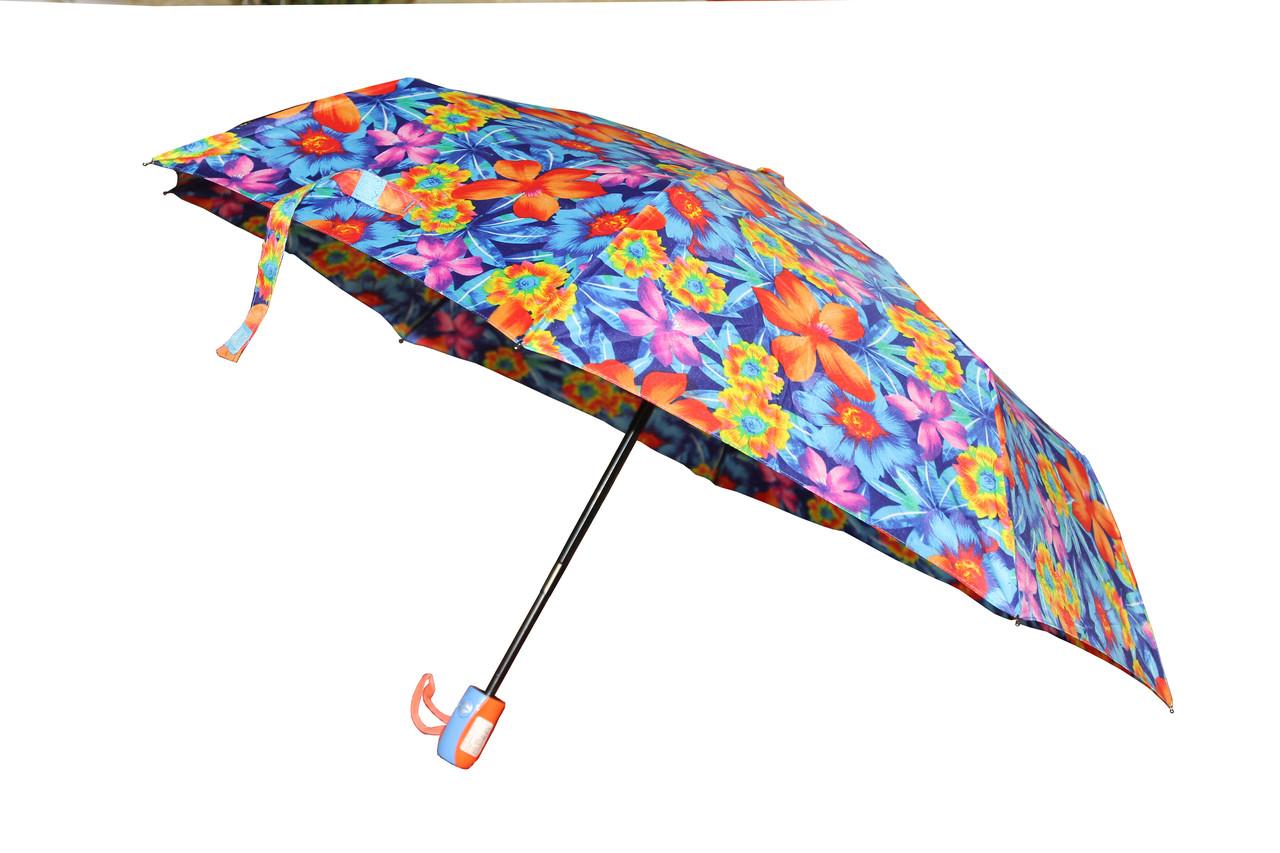 Женский складной зонт автомат на 8 спиц с рисунком ярких цветов