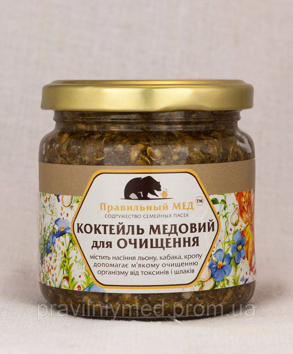 Коктейль очищающий 200мл.  Мёд с комплексом семян для очистки организма.