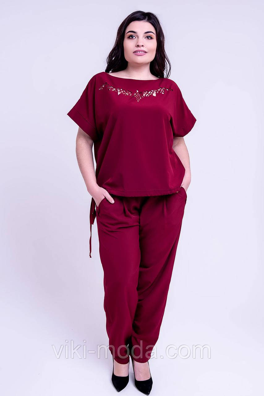 Женский летний штапельный костюм большого размера Николь, бордового цвета.