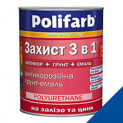 Эмаль антикорозийная Polifarb 3 в 1 Синий RAL 5017 0,9кг